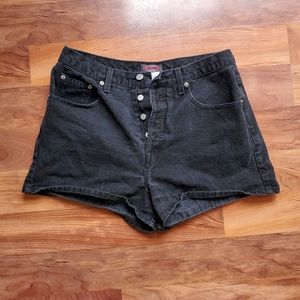 vintage Guess black button fly jean shorts